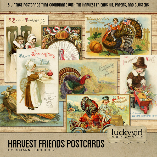 Harvest Friends Postcards Digital Art - Digital Scrapbooking Kits