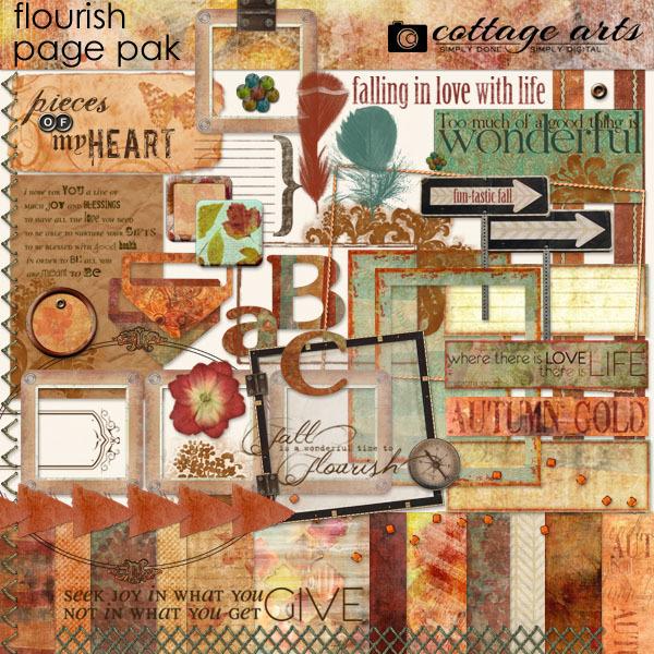 Flourish Page Pak Digital Art - Digital Scrapbooking Kits