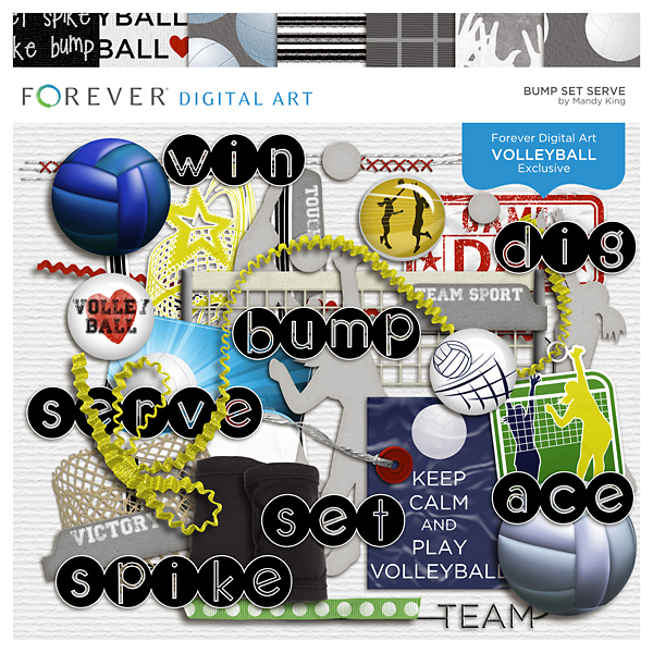Bump Set Serve Digital Art - Digital Scrapbooking Kits