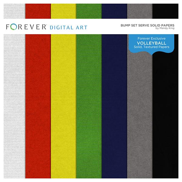 Bump Set Serve Solid Papers Digital Art - Digital Scrapbooking Kits