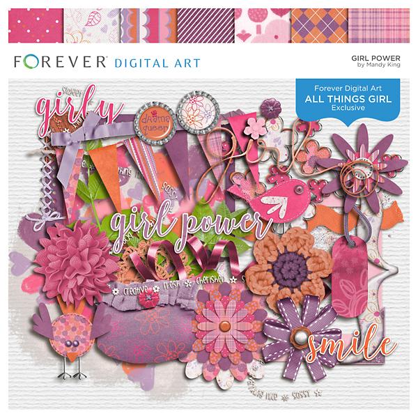 Girl Power Digital Art - Digital Scrapbooking Kits