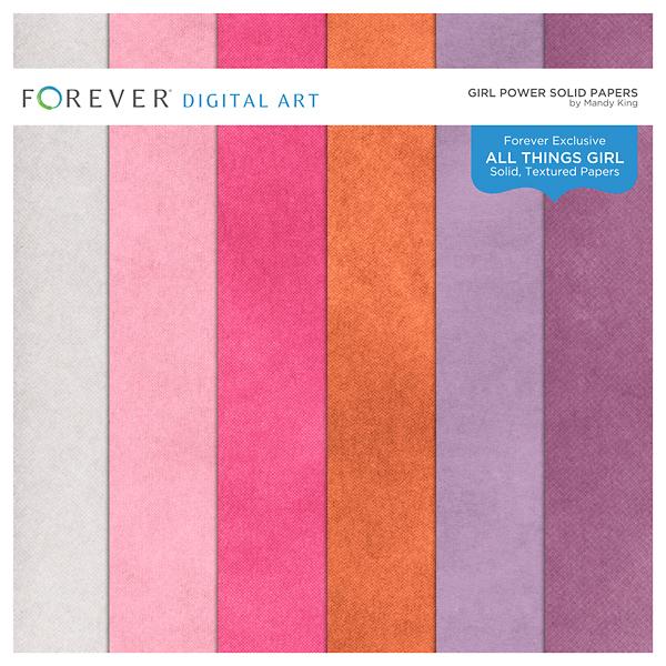 Girl Power Solid Papers Digital Art - Digital Scrapbooking Kits