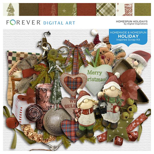 Homespun Holidays Digital Art - Digital Scrapbooking Kits