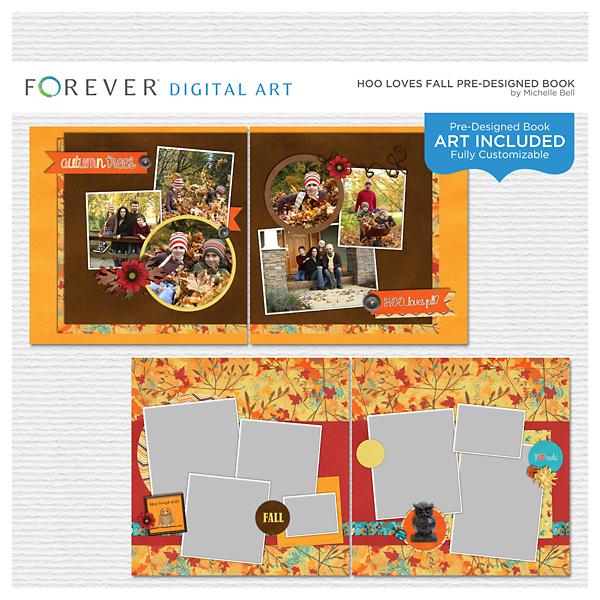 Hoo Loves Fall Pre-designed Book Digital Art - Digital Scrapbooking Kits