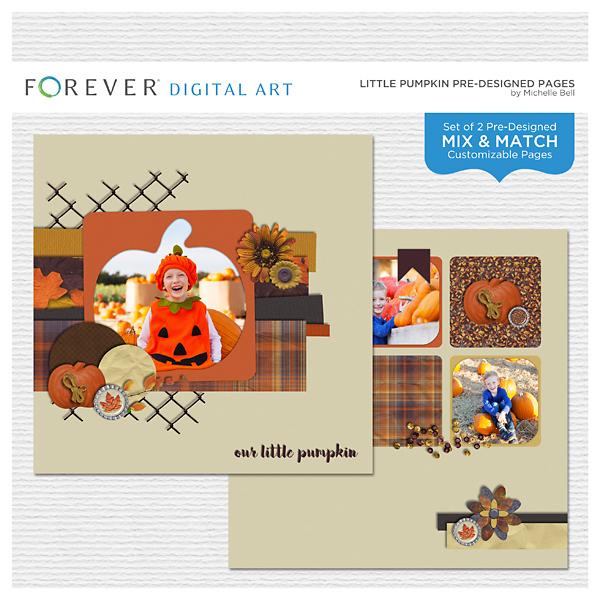 Little Pumpkin Pre-designed Pages Digital Art - Digital Scrapbooking Kits