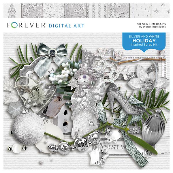 Silver Holidays Digital Art - Digital Scrapbooking Kits