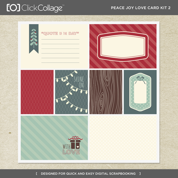Peace Joy Love Card Kit 2 Digital Art - Digital Scrapbooking Kits