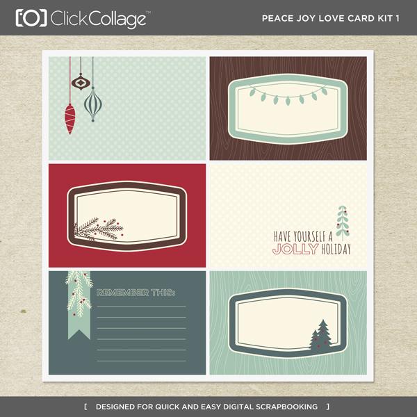 Peace Joy Love Card Kit 1 Digital Art - Digital Scrapbooking Kits