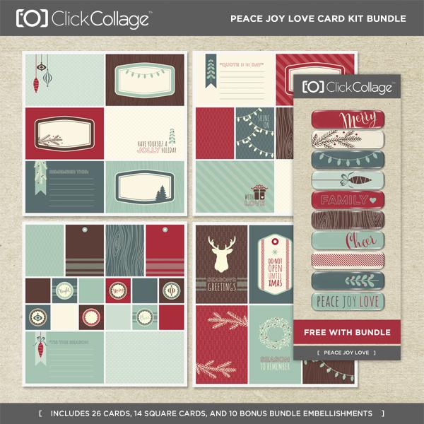 Peace Joy Love Card Kit Bundle Digital Art - Digital Scrapbooking Kits