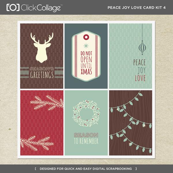 Peace Joy Love Card Kit 4 Digital Art - Digital Scrapbooking Kits