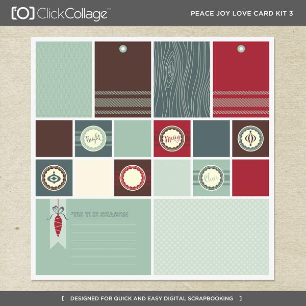 Peace Joy Love Card Kit 3 Digital Art - Digital Scrapbooking Kits