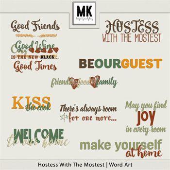 Hostess With The Mostest - Word Art Digital Art - Digital Scrapbooking Kits