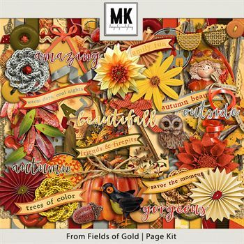 From Fields Of Gold - Page Kit Digital Art - Digital Scrapbooking Kits