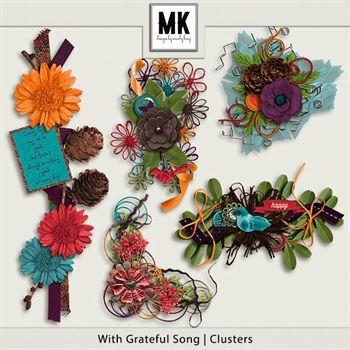 With Grateful Song - Clusters Digital Art - Digital Scrapbooking Kits