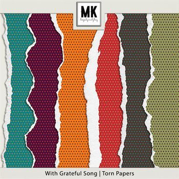 With Grateful Song - Torn Papers Digital Art - Digital Scrapbooking Kits