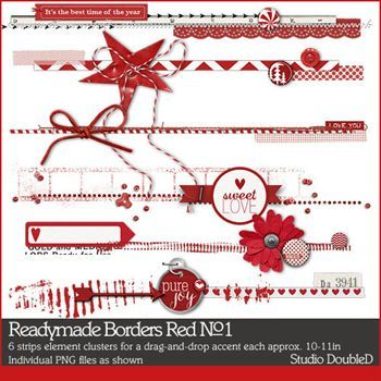 Readymade Borders Red No. 01 Digital Art - Digital Scrapbooking Kits