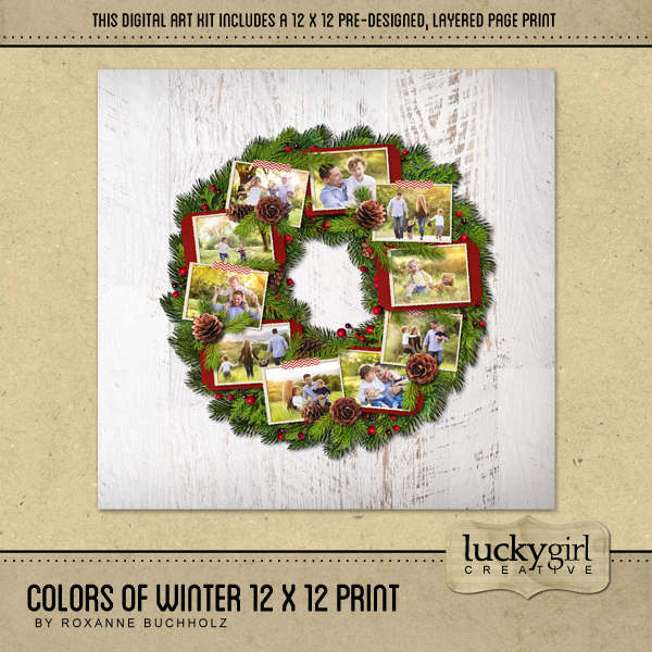 Colors Of Winter 12 X 12 Page Print Digital Art - Digital Scrapbooking Kits