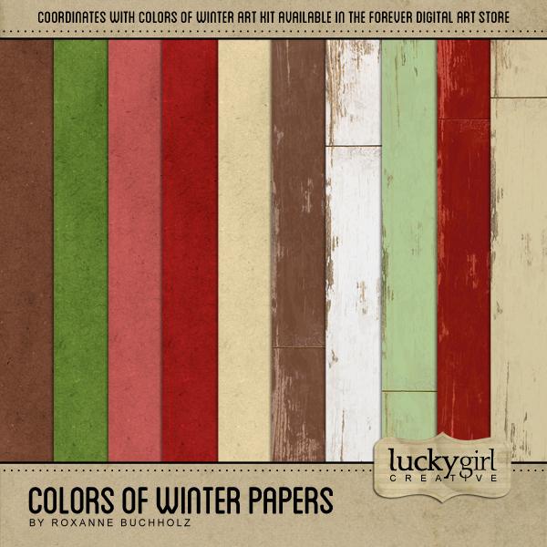 Colors Of Winter Papers Digital Art - Digital Scrapbooking Kits