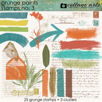 Grunge Paints 3 Stamps Digital Art - Digital Scrapbooking Kits