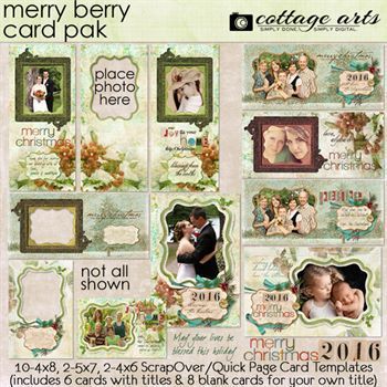 Merry Berry Holiday Cards Pak Digital Art - Digital Scrapbooking Kits