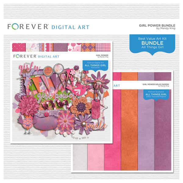 Girl Power Bundle Digital Art - Digital Scrapbooking Kits