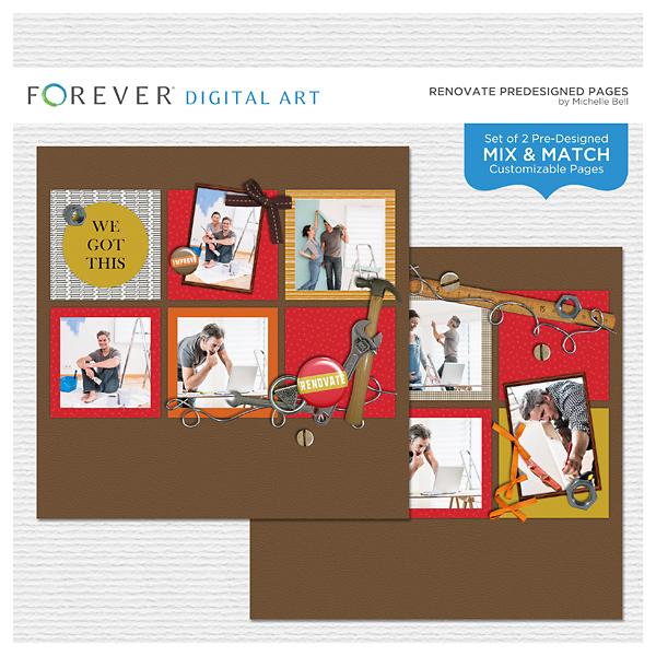 Renovate Predesigned Pages Digital Art - Digital Scrapbooking Kits