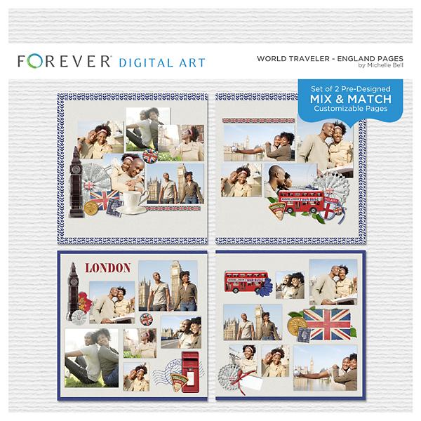 World Traveler - England Pages Digital Art - Digital Scrapbooking Kits