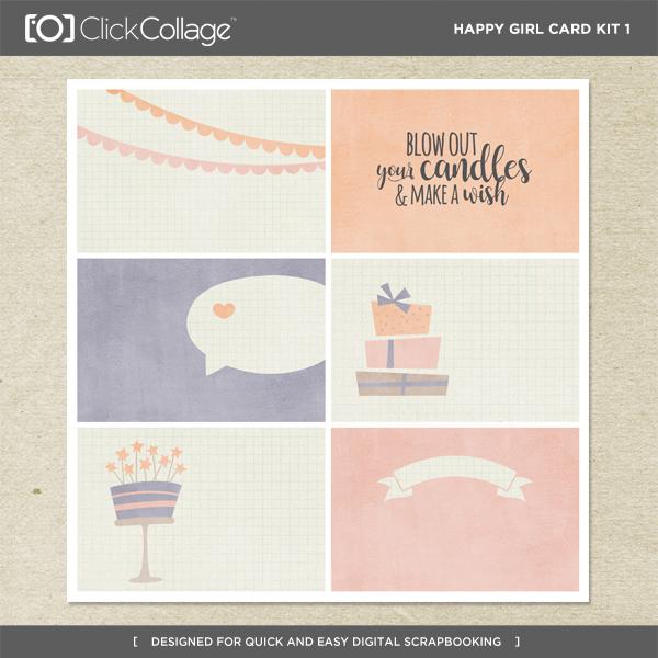 Happy Girl Card Kit 1 Digital Art - Digital Scrapbooking Kits