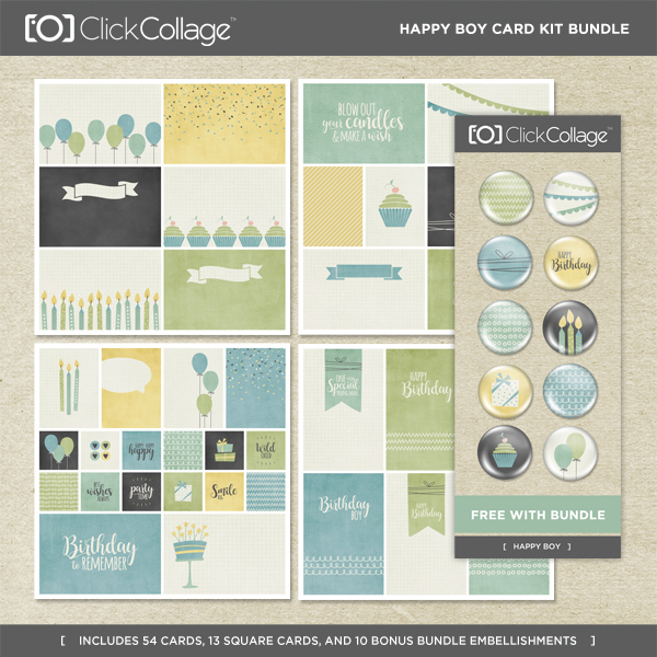 Happy Boy Card Kit Bundle Digital Art - Digital Scrapbooking Kits