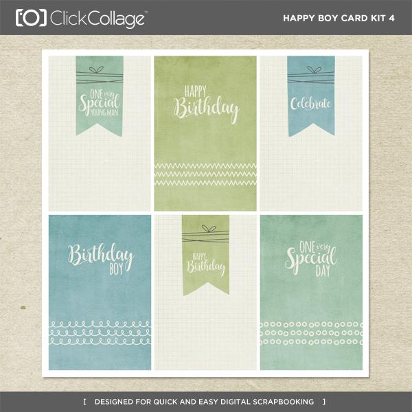 Happy Boy Card Kit 4 Digital Art - Digital Scrapbooking Kits