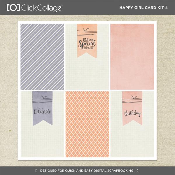 Happy Girl Card Kit 4 Digital Art - Digital Scrapbooking Kits