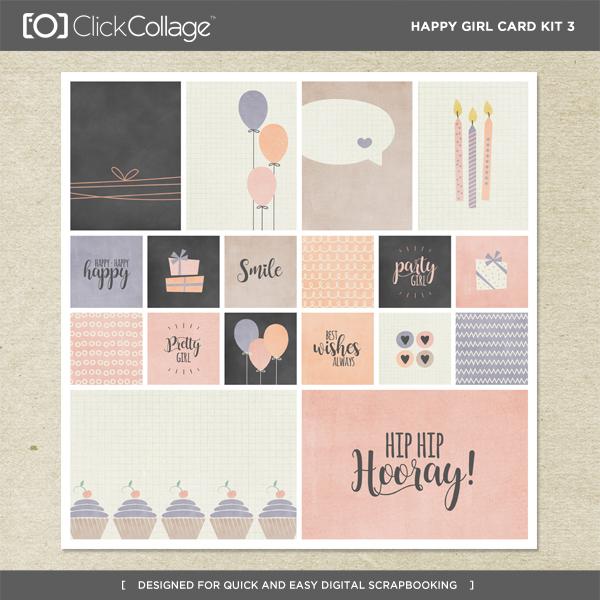 Happy Girl Card Kit 3 Digital Art - Digital Scrapbooking Kits