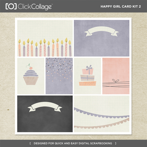 Happy Girl Card Kit 2 Digital Art - Digital Scrapbooking Kits