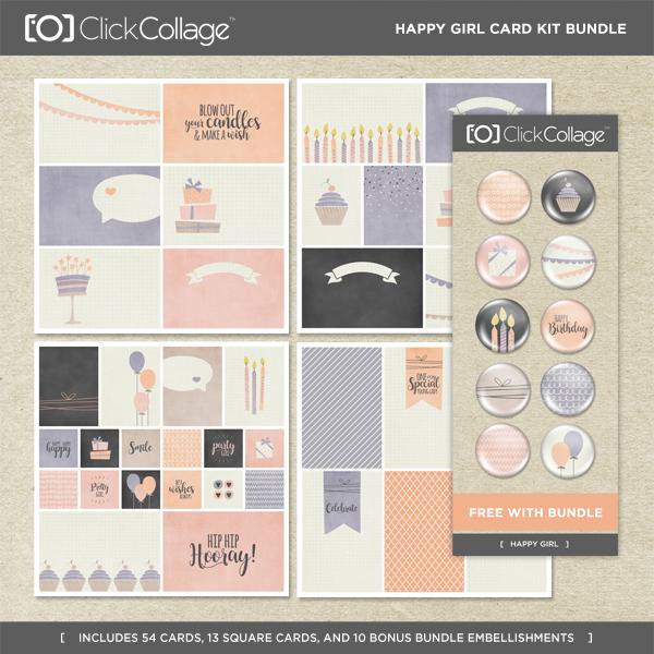 Happy Girl Card Kit Bundle Digital Art - Digital Scrapbooking Kits