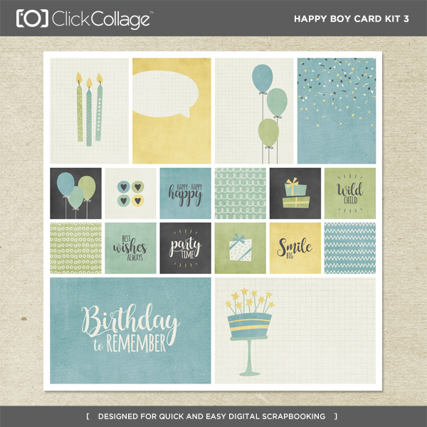 Happy Boy Card Kit 3 Digital Art - Digital Scrapbooking Kits