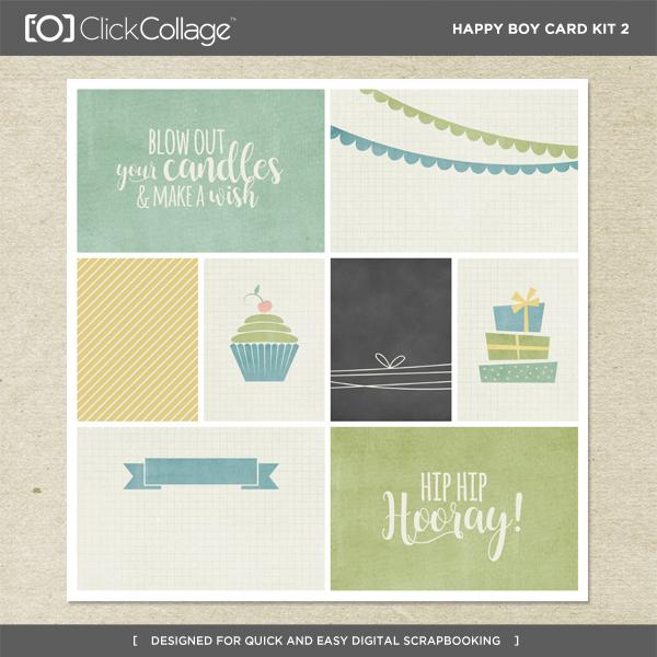 Happy Boy Card Kit 2 Digital Art - Digital Scrapbooking Kits