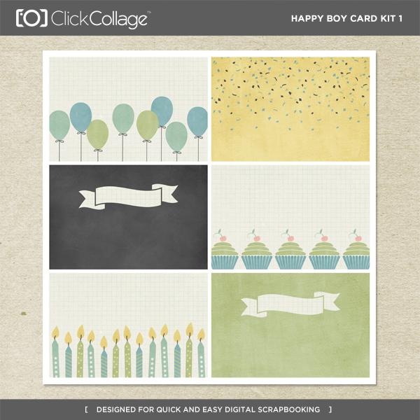 Happy Boy Card Kit 1 Digital Art - Digital Scrapbooking Kits