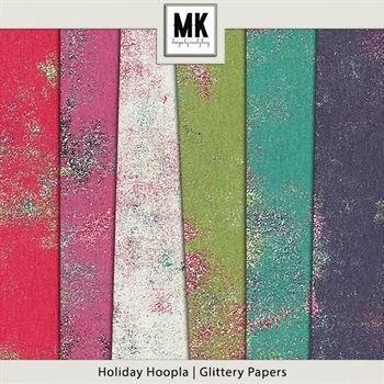Holiday Hoopla - Festive Papers Digital Art - Digital Scrapbooking Kits