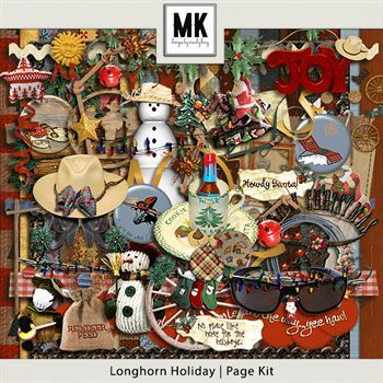 Longhorn Holiday - Page Kit Digital Art - Digital Scrapbooking Kits
