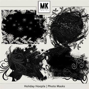 Holiday Hoopla - Photo Masks Digital Art - Digital Scrapbooking Kits