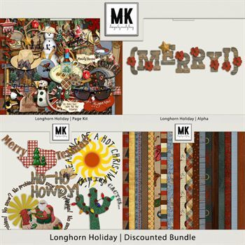 Longhorn Holiday - Discounted Bundle Digital Art - Digital Scrapbooking Kits