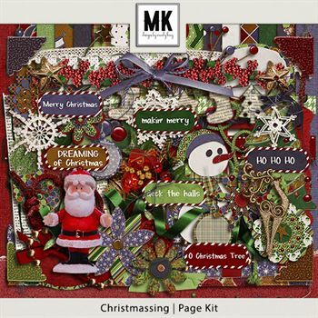 Christmassing Page Kit Digital Art - Digital Scrapbooking Kits