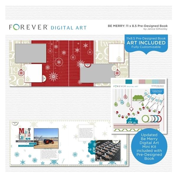 Be Merry Pre-designed Book 11x8.5 Digital Art - Digital Scrapbooking Kits