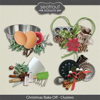 Christmas Bake Off Clusters Digital Art - Digital Scrapbooking Kits
