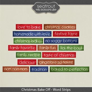 Christmas Bake Off Word Art Digital Art - Digital Scrapbooking Kits