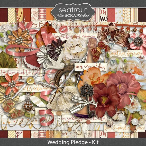 Wedding Pledge Kit Digital Art - Digital Scrapbooking Kits