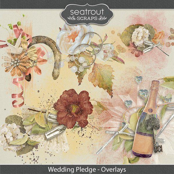 Wedding Pledge Overlays Digital Art - Digital Scrapbooking Kits