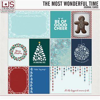 The Most Wonderful Time - Journal Cards Digital Art - Digital Scrapbooking Kits