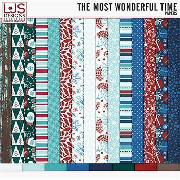 The Most Wonderful Time - Papers Digital Art - Digital Scrapbooking Kits
