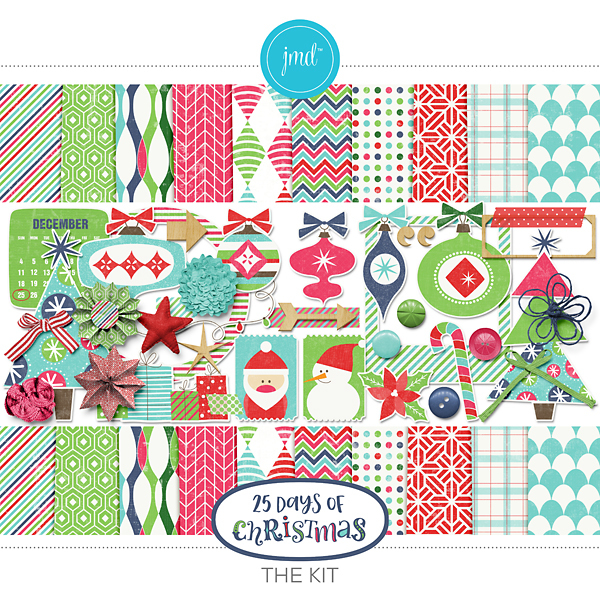 25 Days Of Christmas Kit Digital Art - Digital Scrapbooking Kits
